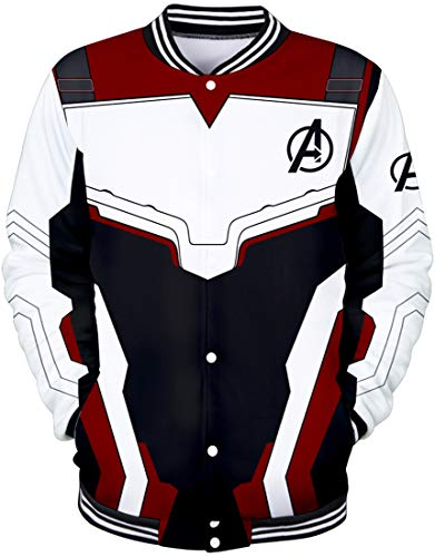 EMILYLE Herren Avengers Endgame Jacke Superheld Quantum Realm Cosplay Kostüm 3D Druck Fans Baseball Uniform (4XL(Größe 185-190cm), - Spiderman Kostüm Hoodie