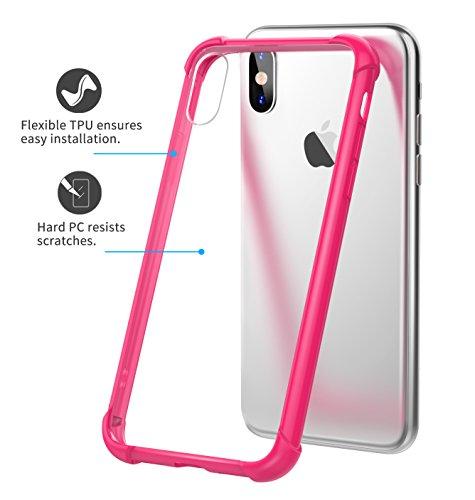 MoKo iPhone X Hülle, Lightweight Dünn Durchsichtige Schutzhülle Slim Crystal Clear TPU Kratzfeste Handyhülle - Anti Fallen Transparent Casefür Apple iPhone X / iPhone 10, Transparent Rosa + Klar Magenta + Klar