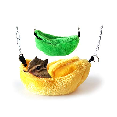 Bbl345dLlo Haustier-Hängematte, bunt, für Hamster, Papageien, Vögel, Hängematte, warm, Plüsch, Höhle und Boot, Gelb -