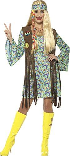 Smiffys, Damen 60er Jahre Hippie Chick Kostüm, Kleid mit Weste, Medaillon und Haarband, Größe: 44-46, 43127