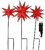 Set mit 3x Stern rot außen beleuchtet Weihnachten Adventsterne mit Erdspieß außen LED warmweiß