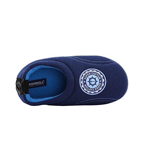 Kenroll Fille Garçon Coton Chaussons Chaud Hiver intérieure à la maison Antidérapage Pantoufles Deep Blue