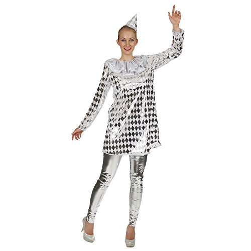 Harlekin Pierrot Kostüm Damen silber weiß Kleid mit Hütchen - 40/42