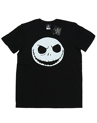Disney Herren Nightmare Before Christmas Jack Skellington Face T-Shirt Schwarz