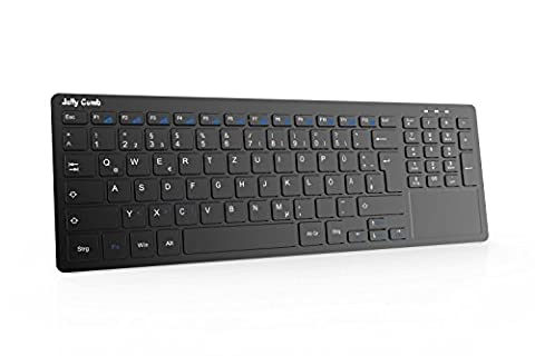 Kabellose Tastatur, Jelly Comb All-in-One Media Ultradünne Tastatur mit Touchpad und Nummernblöcke (QWERTZ Deutsch-Layout) für PC Google Android Smart TV Box,