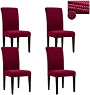 Kiatoras Stretch Dining Chair Cover Polar Fleece Durable Spandex Elastic Chair Slipcover Removable Seat Chair