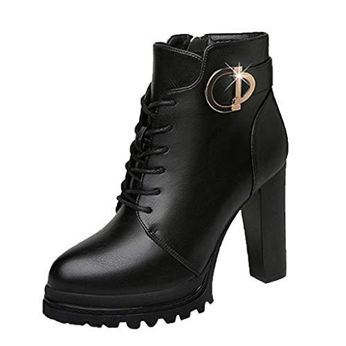 ZHANSANFM Kurz Stiefel Damen Unifarben Runde Zehen Stiefeletten Retro Plateau High Heels Chelsea Boots Reißverschluss Schnalle Elegant Schuhe Lace-up Elegant Freizeitstiefel (36 EU, Schwarz) -