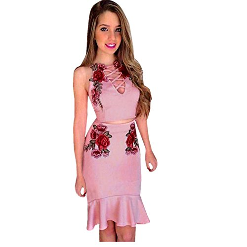 Cotton Club Unterwäsche (Vovotrade ✿✿ 1 Set Women Appliques Rose Print Sleeveless Strap Camisole Shirt+Skirt Item specifics (Size:XL, Rosa))