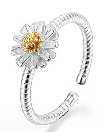 Hosaire Elegant Daisy Ring Crystal Open Rings Wedding Jewelry For Women-It Can Be adjustable