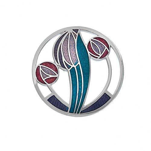 Rennie Mackintosh Brosche, versilbert, Blumen-Design: Tulpe & Rose, fliederfarben / Wasserblau / Rot -
