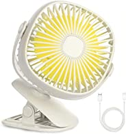 KH Clip on Fan with Night Light?360 Degree Rotation Portable USB Desk Personal Fan,3 Speeds,2 Brightness, 5.5