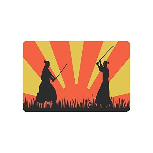 interestprint Japanische Samurai mit Katana Schwert rutschfeste Fußmatte Home Decor, Japan Orange Sun Innen Outdoor Entrance Fußmatte Gummi Rückseite 59,9x 39,9cm (Schwert Japanische Samurai Katana Traditionelle)