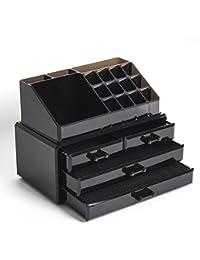 FOBUY Caja acrílica Estante de maquillajes Maquillaje Cosméticos Joyería Organizador (4 Drawers Clear C) (Negro)