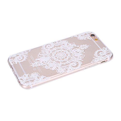 Hülle für iPhone 6 6S, Case Cover für iPhone 6 6S [Scratch-Resistant] , ISAKEN Ultra Slim Perfect Fit Malerei Muster TPU Silikon Clear Transparent Protective Rückseite Back Hülle Hüllen Beschützer Hau Blumen Weiß