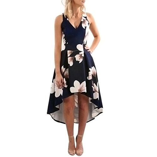 Lilien-Drucken kleider  Loveso Damen Kleid Abendkleid Ärmellos Cocktailkleid Blumendruck...