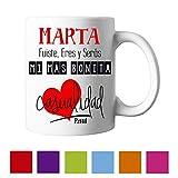 Kembilove Taza de Café Pareja - Taza de Desayuno con frase y nombre personalizado - Taza de Café y Té para Enamorados - Taza de Cerámica Impresa - Tazas de de 350 ml para San Valentin