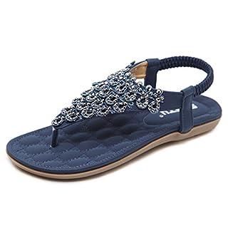Damen Sandalen Zehentrenner Bohemian Strass Flach Sandaletten Sommer Strand Schuhe (42 EU, Blau)