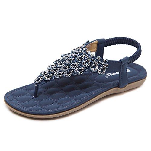 d72326e74fd8 Zum Shop · Damen Sandalen Zehentrenner Bohemian Strass Flach Sandaletten  Sommer Strand Schuhe (40 EU, Blau)