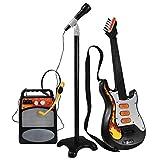Maissine 3 en 1 Guitare Micro Ampli Set - Ensemble Guitare et Micro - Guitare électrique + Amplificateur + Microphone avec Support pour Enfant Garçon