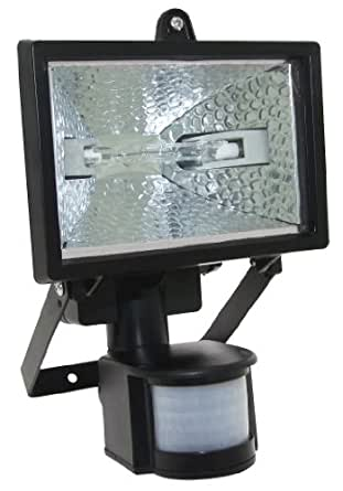 150w Halogen Floodlight Security Light With Motion Pir Sensor + 2 Bulbs