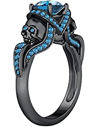 Silvernshine 1.52Ct Aquamarine CZ Engagement & Wedding Two Skull Design Ring 14K Black Gold Plated