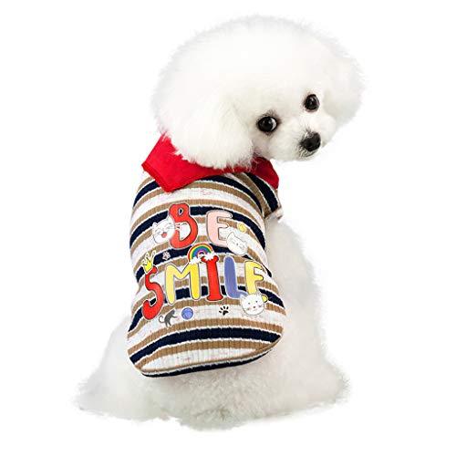 HoSayLike Haustier Hund Modisch Freizeit Sommer Atmungsaktiv Roter Schal Streifen Welpen Kleid Soft Cotton Rock Druckennettes Haustier Welpen Weste Kleidungs Hemd Hundebekleidung -