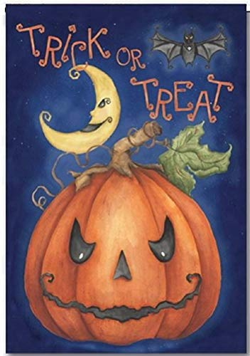 Discount Flaggen USA Halloween Trick or Treat Garten Flagge - einseitig 29,5 x 44,5 cm in Größe - Herbst Festliche Outdoor Yard Decor - Fledermaus Moon & Kürbis Polyester Design (Tag In Den Halloween Usa Des)