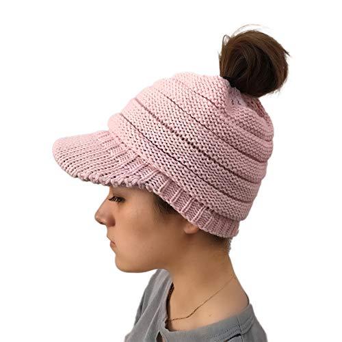 Mütze DOLDOA Damen Winter Strickmütze Baseballmütze mit Loch für Pferdeschwanz