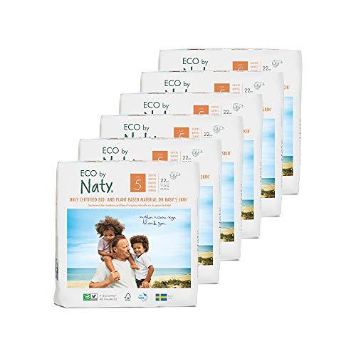 Eco by Naty Premium Bio-Windeln für empfindliche Haut, Größe 5, 11-25 kg, 6 Packungen à 22 Stück (132 Stück insgesamt), weiß - 2