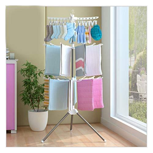 Freistehend Handtuchhalter mit Abnehmbarem Faltbar Edelstahl Baby Wäscheständer-Weiß - Freistehender Wäscheständer