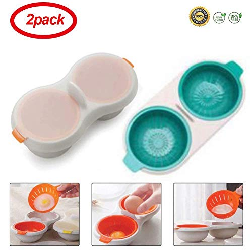 Coogel 2 Pack Egg Poacher Microwave Egg Cooker,Double-Layer Egg Cooker Tableware Baking Cup Cooking Kitchen Accessories (Orange&Blue) - Microwave 2 Egg Poacher