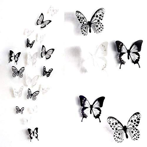 Haimoburg 36er-Set 3D Schmetterling Aufkleber Wandsticker Wandtattoo Wanddeko für Wohnung, Raumdekoration (36pc A)