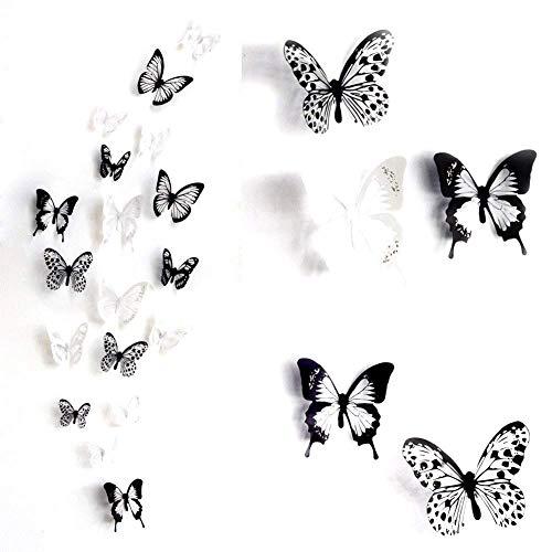 fenstertattoo blumen Haimoburg 36er-Set 3D Schmetterling Aufkleber Wandsticker Wandtattoo Wanddeko für Wohnung, Raumdekoration (36pc A)