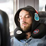 Donkey Products Travel Hoody, Silent Music, travel pillow with hood, black + embroidery