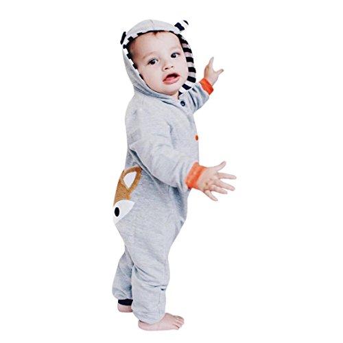 Kostüm Kleinkind Süsse Fuchs (Neugeborene Jumpsuit Set FORH Baby Jungen Mädchen Stripe Hoodie Jumpsuit Niedlich Fuchs muster langarm Kapuzenpullover Sweatshirt romper Spielanzug Ausstattungs Outfits für 0-24 Monate (100,)