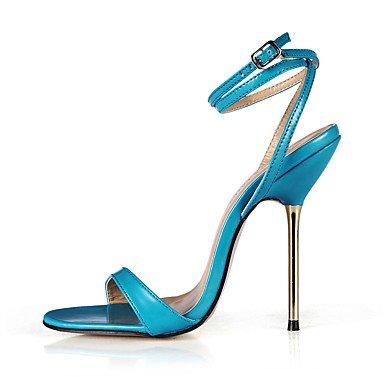 LFNLYX Donna Sandali Estate cinturino alla caviglia PU Party & abito da sera Stiletto Heel Nere pelle blu Black