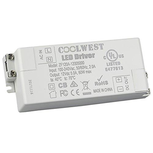 COOLWEST LED Transformateur 60W Driver 12V DC Convertisseur Transfo Alimentation pour G4 GU10 MR11 MR16 Rubans