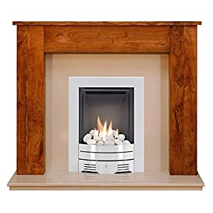 The New England Acacia & Marfil Stone with Crystal Diamond Contemporary Fire Brushed Steel, 54 Inch
