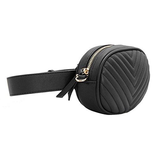 646be8ccc4 CRAZYCHIC - Borsa Ovale Marsupio Cintura Donna - Waist Pack Fanny Pack  Cellulare - Borsetta Ecopelle Trapuntata a Tracolla Spalla Catena Piccola  Mini - Moda ...