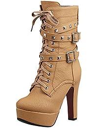 e4ad2036065e YE Damen Blockabsatz High Heels Plateau Halbschaft Stiefel mi Schnürung und  Nieten Schnallen und Reißverschluss 12cm