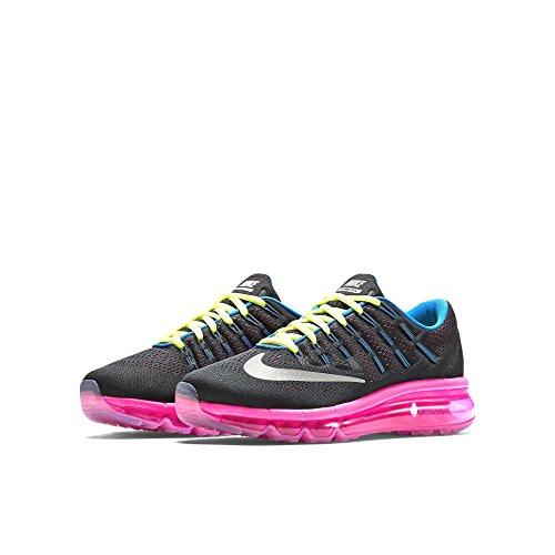 Nike - NIKE AIR MAX 2016 (GS), Scarpe da ginnastica Unisex – Bambini Nero/argento-rosa-verde (Black/Rflct Silver-Pnk Pw-Vlt)