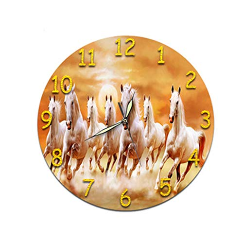 Mily MILYHemmungslose Pferdegruppe Wohnzimmer Digitale Wanduhr Acryl Stille Stereo Uhr Wandaufkleber Zifferblatt