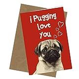 """Biglietto di auguri per compleanno o San Valentino con carlino e scritta """"#90 Pugging Love You"""", divertente scherzo per adulti (formato A4 piegato in formato A5)"""