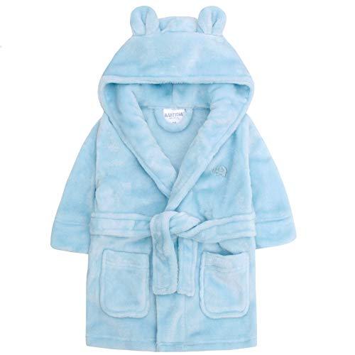Lora Dora Fleece-Bademantel mit Kapuze für Jungen, Größe 6-24Monate Gr. 6-12 Monate, Blue - Elephant Monat Onesies