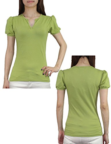 (Lot de 2) pour femme Split col en V à manches courtes T-shirt d'été décontracté Green & Brown