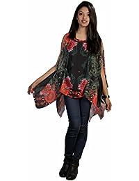 Robe à motif floral de conception poncho coloré doux Femmes