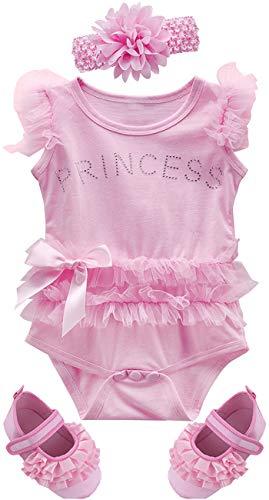 n Prinzessin Body Säugling Sommer Tutu Kleid mit Stirnband und Schuhe (Rosa 2, 6-12 Monate) ()
