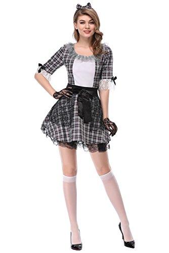 Damen Dienstmädchen Kostüm Kleid Frauen French Maid Anime Cosplay Zimmermädchen Karneval Fasching (Anime French Maid Kostüm)