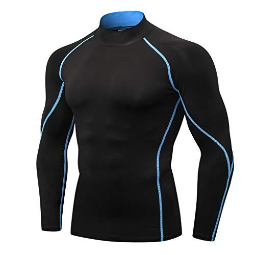 Toamen 2019 Primavera Nuovi Sport da Allenamento Attillati da Uomo A Maniche Lunghe T-Shirt Asciugatura Rapida Vestiti Allenamento Running Yoga Athletic Top (Blu,XL)