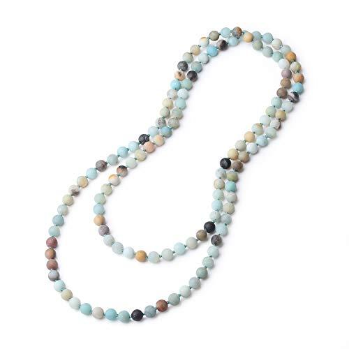 Coai bracciale collana unisex in amazzonite naturale opaca, mala da preghiera con perle annodate a mano una ad una